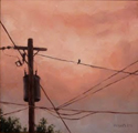 Bird on a Wire at Sunset
