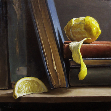 Peeled Tangerine with Books